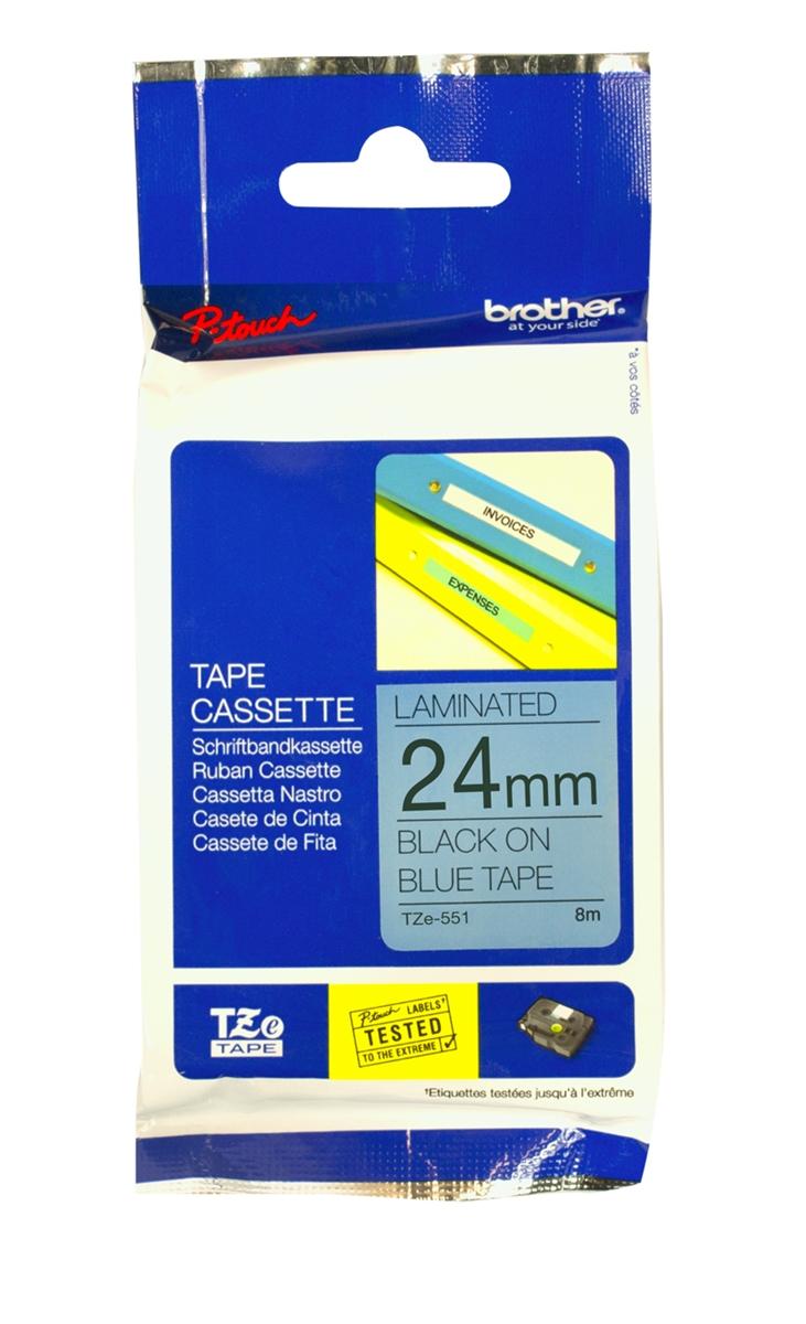 Nhãn Brother TZe551, Black on Blue, 24mm x 8m